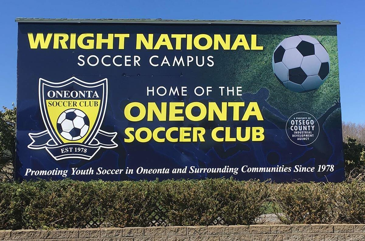 Oneonta Soccer Club Billboard at Wright National Soccer Campus